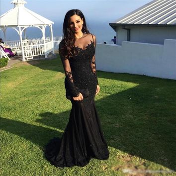 Evening Dress Lace Black Prom Dress Long Sleeve Affordable