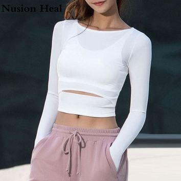 Women Gym White Yoga Crop Tops Yoga Shirts Long Sleeve Workout Tops Fitness Running Sport T-Shirts Training Yoga Sportswear