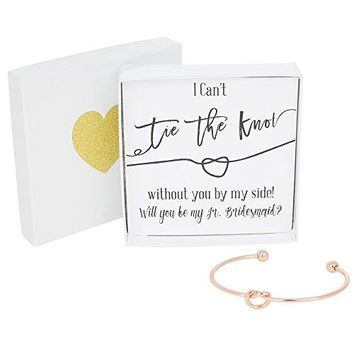 Bridesmaid Gifts  Tie The Knot Jr Bridesmaid Bracelet w Gift Box Wedding Thank You Gift Love Knot Jewelry Bridal Party Gift Sets Gold Rose Gold Silver