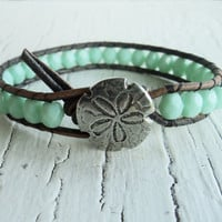 Sand Dollar Leather Wrap Bracelet, Mint Green and Gray Wrap Bracelet, Boho Bohemian Beach Jewelry, Sufer GIrl Chic