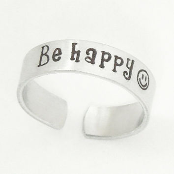 Be Happy ring - Aluminum smiley face ring - Men's ring women's ring - Handmade adjustable silver-tone ring
