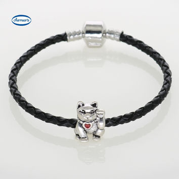 Black Leather Chain & Link Bracelets With Lucky Cat Charm Bracelets For Men DIY Jewelry 5 Color Options CB62