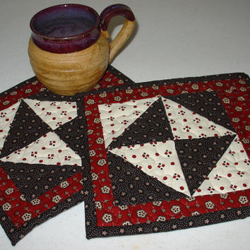 Quilted Mug Rug, Red, Black and White 8 x 9 Bow Tie design, handmade, hand sewn binding, washable. Great for Mothers Day
