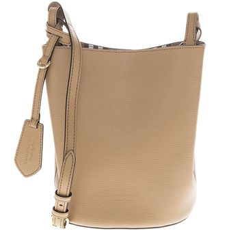 Burberry Women's Leather and Haymarket Check Croosbody Bucket Bag Camel