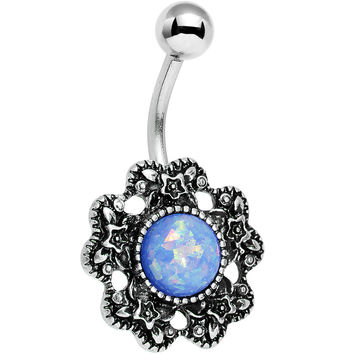 Blue Faux Opal Forget Me Never Flower Belly Ring