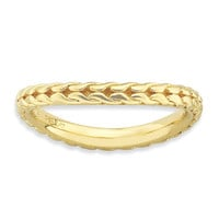 Sterling Silver Stackable Expressions Polished Gold-plated Wave Ring: RingSize: 7