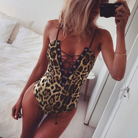 Women Leopard Bodysuit 2017 fashion nova Summer Casual Streetwear Lace-Up Sequined Bodycon Jumpsuit Womens Summer Skinny Rompers