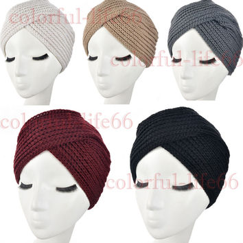 2016 New Fashion Ladies Accessory Winter Warm Turban Soft Knit Headband Beanie Crochet Headwrap Women Hat Cap Free Shipping