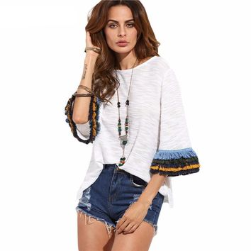 Womens Casual T shirt Tops Ladies Beige Fringe Cuff Round Neck Half Flare Sleeve T-shirt