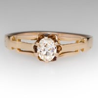 Antique Old Mine Cut Diamond Engagement Ring 14K Yellow Gold