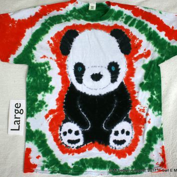 Adult Large Tie-Dye Panda Bear Tee