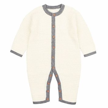 Solid Knitted Buttons Romper Warm Newborn Infant Baby Boy Girl Weave Long Sleeve Romper Jumpsuit Outfits Clothes +