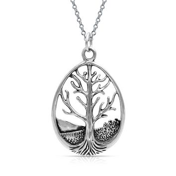 Family Circle Tree Life Pendant Celtic Oval Necklace Sterling Silver