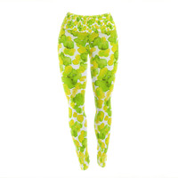 "Ebi Emporium ""Giraffe Spots - Lemon Lime"" Green Yellow Yoga Leggings"