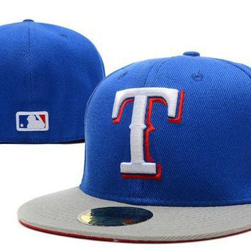 ONETOW Texas Rangers New Era 59FIFTY MLB Cap Blue-White