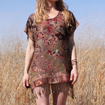 Caftan Mini Dress Tunic in Burgundy and Gold Cashmere & Silk Fringe Hippie Boho Style Kaftan One Size Fits All