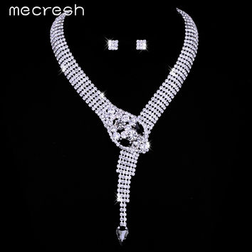 Mecresh New Unique Design Snake Choker Necklace Stud Earrings Bridal Jewelry Sets Wedding Accessories TL372