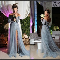 Grey Prom Dress 2016  A line Long Sleeve Tulle Party Evening Gowns Elegant Slit Applique Sexy V neck Pageant Dress For Women