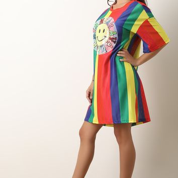 Rainbow Stripe Mesh Sequin Graphic Print T-Shirt Dress