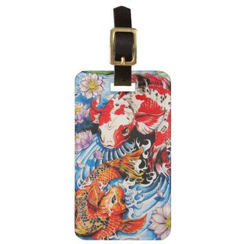 Cool oriental japanese Koi Fish lotus water tattoo Luggage Tag from Zazzle.com
