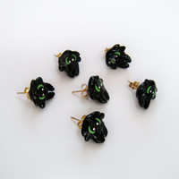 How To Train Your Dragon: Toothless head stud earrings