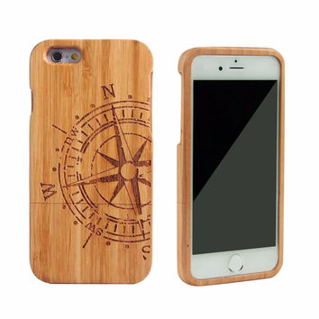 2016 fashion 100% real Bamboo Wood Hard Back Cover Case For Apple iPhone 6 6S 4.7 inch compass