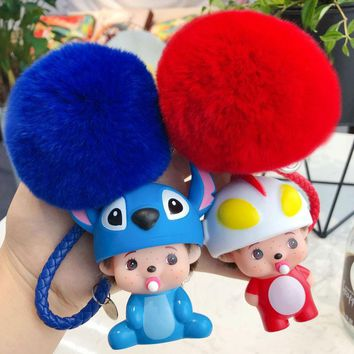 Super Mario party nes switch Film Series Lilo & Stitch Totoro  Cartoon Key Chain Cute Monchicchi KiKi Dolls Key Rings Rabbit Fur Pompom Key Chains AT_80_8