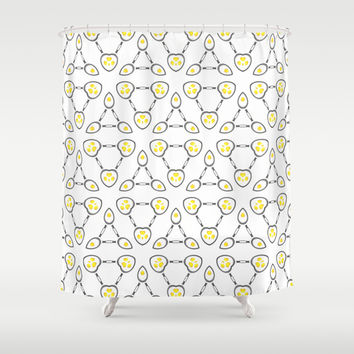 Abstract Techno Fried Eggs Shower Curtain by Cinema4design