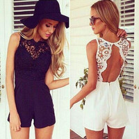 Macacao Feminino Shorts Female Rompers Womens Jumpsuit Sexy Backless Bodycon Lace One Piece Jumpsuits Fashion Black White Overalls For Women