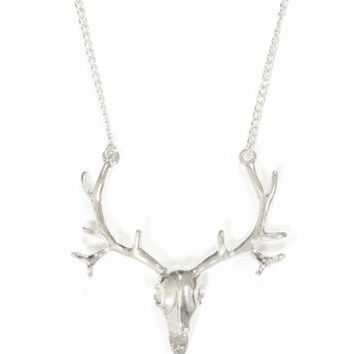 Deer Necklace Elk Skull Antlers Silver Tone Taxidermy Animal Stag Vintage Pendant NO05 Fashion Jewelry