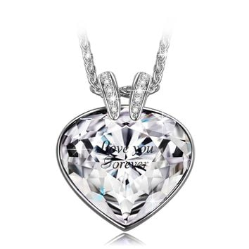 """""""Forever Love"""" Heart Pendant Necklace Made with Clear Swarovski Crystals Jewelry for Women, Birthday Gifts for Girlfriend Wife Anniversary Gifts for Her"""