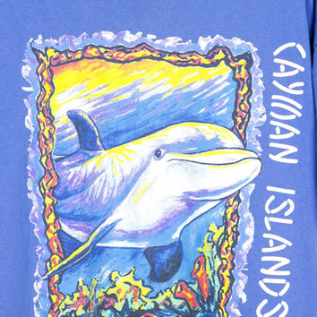 90s pastel dolphin shirt / cayman islands / watercolor tee / vintage 1990s / blue / ocean / sea / colorful / L - XL