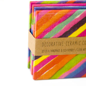 Tile Coasters Colorful painted stripes, set of 4