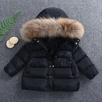 Fashion Winter Warm Newborn Winter Baby Kids Boys Girls Hooded Fur Coat Jacket Outwear 3M-5T