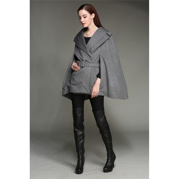 Plus Size Grey Military Coat