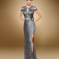 Rina Di Montella 1818 Cap Sleeve Sequin Prom Pageant Dress Evening Gown $675