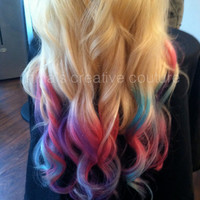"Blonde Ombre, Tie Dye Hair, Bohemian Hair, Pink, Purple, Green, Festival Hair, Blonde Hair Extensions, 7 Pieces 22"",Custom Your Root Color"