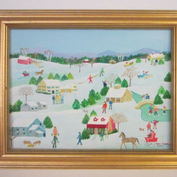 Snow Town Scene Framed Oil On Canvas Signed Dated Kay Fabri 2001