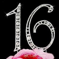 Large Crystal 16 Sweet sixteen numbers rhinestone crystal Bling Birthday cake topper cake decoration