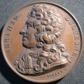 1826  Abraham Duquesne Marquis du Bouche Copper Medallion From the Galerie Des Grands Hommes Francaise Engraved by Domard F. Rare Find