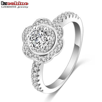 Size 8 LZESHINE Beauty Flower Shape Rings Platinum Plated Paving Setting  Cubic Zirconia Wedding Rings for Women #7 8 9 CRI0128-B