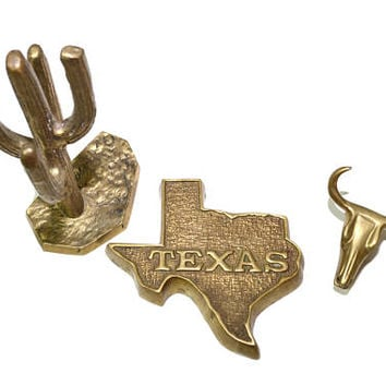 Vintage Brass Cactus Texas Gift Brass Texas Brass Cow Skull Brass State of Texas Gift for Texan Southwestern Decor