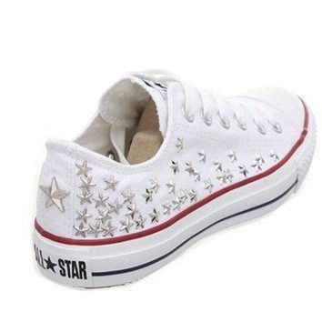 DCCK1IN studded converse silver star studs with converse low top by customduo