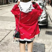 """Balenciaga"" Women Fashion Casual Logo Letter Print Loose Long Sleeve Denim Cardigan Coat"