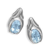 Oxidized  Oval Blue Topaz Post Earrings