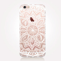 Transparent White Mandala iPhone Case - Transparent Case - Clear Case - Transparent iPhone 6 - Transparent iPhone 5 - Transparent iPhone 4