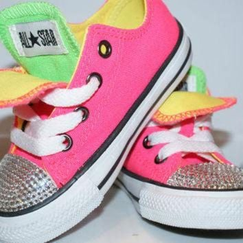 ONETOW All Star Converse Bling Swarovski Shoes. Baby Girl/Boy Childrens. Sneakers Made with l