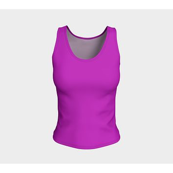 Solid Fitted Tank Top - Purple