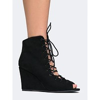 Vermont Lace Up Wedge Bootie