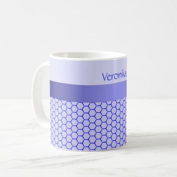 Blue pattern. Grid and silk band. Add your text. Coffee Mug
